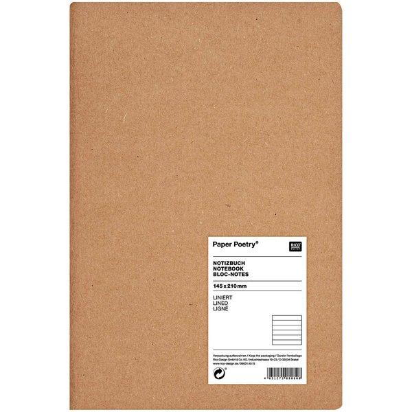 Paper Poetry Notizbuch weiß A5 Kraftpapier liniert