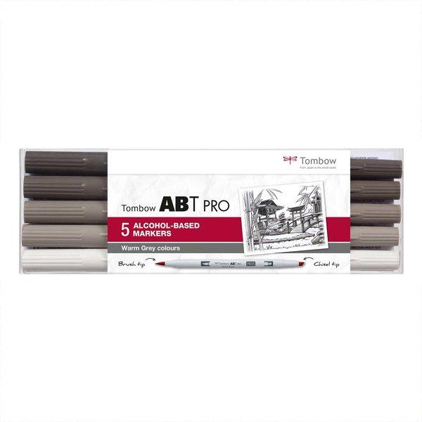Tombow ABT PRO Warm Grey Colours Alkoholbasierte Marker 5teilig