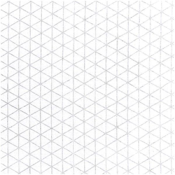 Rico Design Stoff weiß Raute silber 140cm