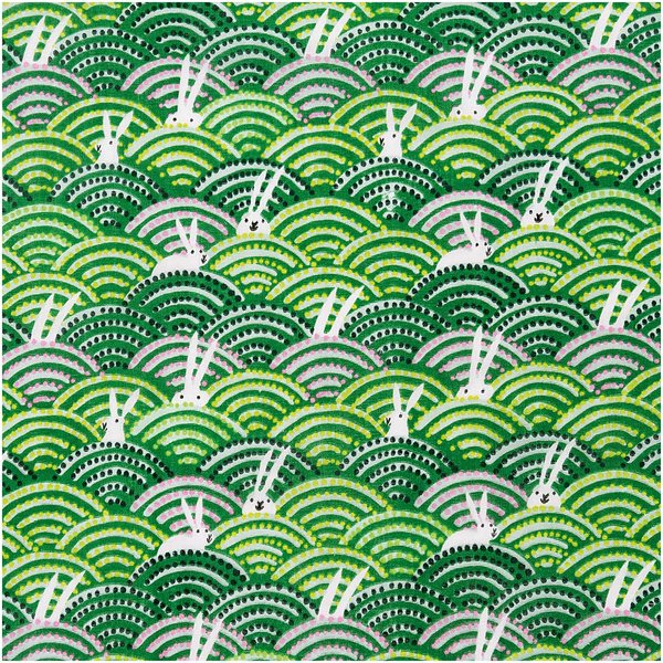 Rico Design Musselin-Druckstoff Bunny Hop Hasen im Feld grün 50x140cm