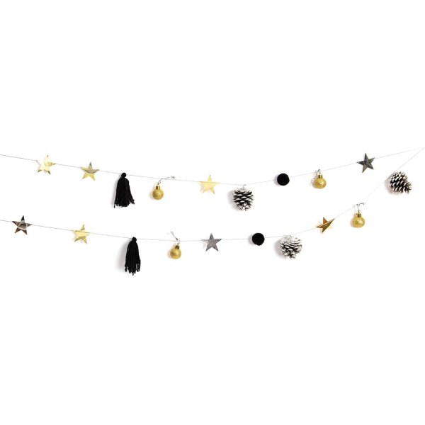 YEY! Let's Party Quasten-Girlande gold-schwarz 2,2m