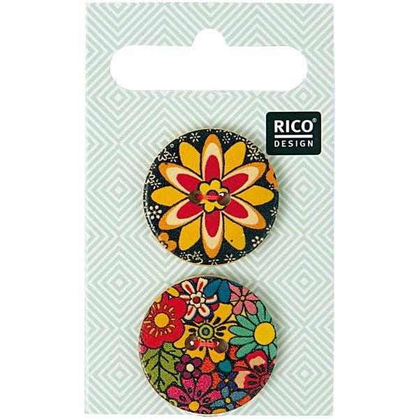 Rico Design Holzknöpfe Folklore 2,5cm 2 Stück