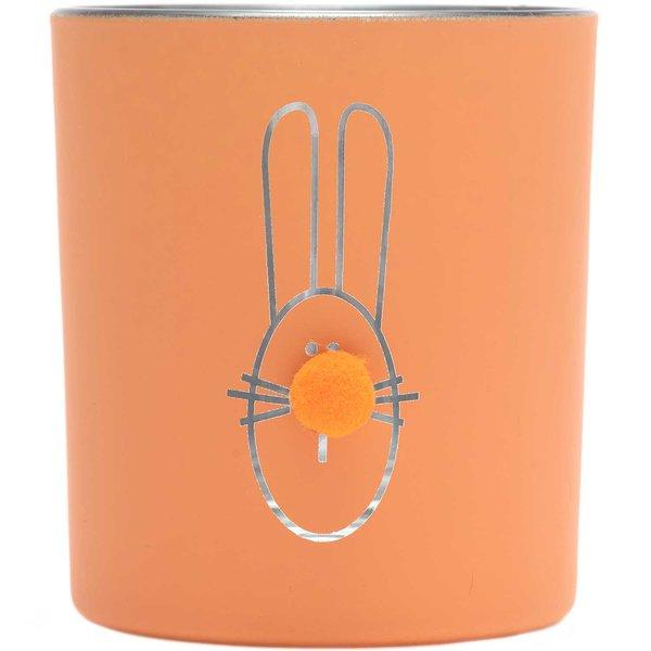 Teelichtglas Happy Rabbit orange 8x7cm