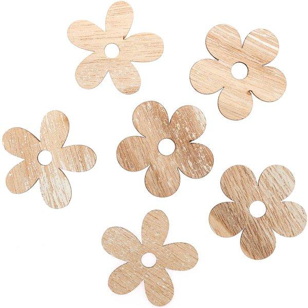 Holzstreu Blüte natur 5cm 6 Stück