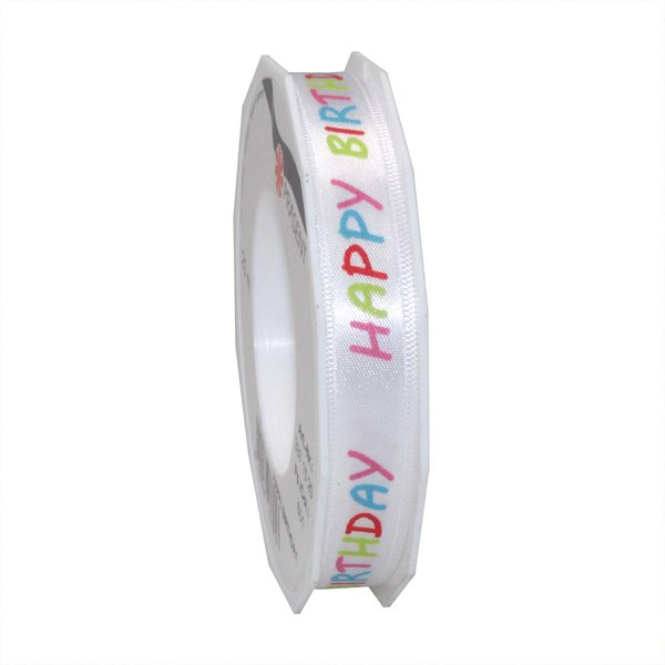 PRÄSENT Satinband Happy Birthday 15mm 4m