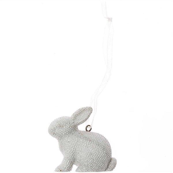 Glitter-Hase aus Polyresin zum Hängen 5,5x4,5cm