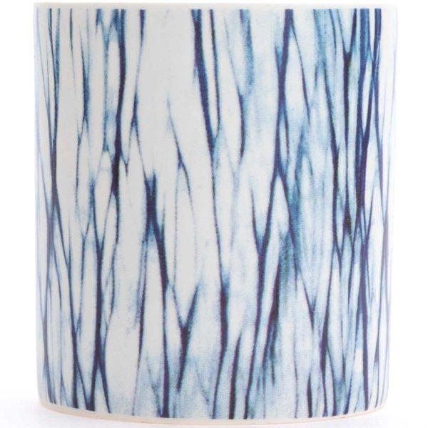 Porzellan-Windlicht Batik Liniendesign blau-weiß 9x8cm