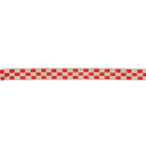 Rico Design Ribbon kariert natur-rot 2m