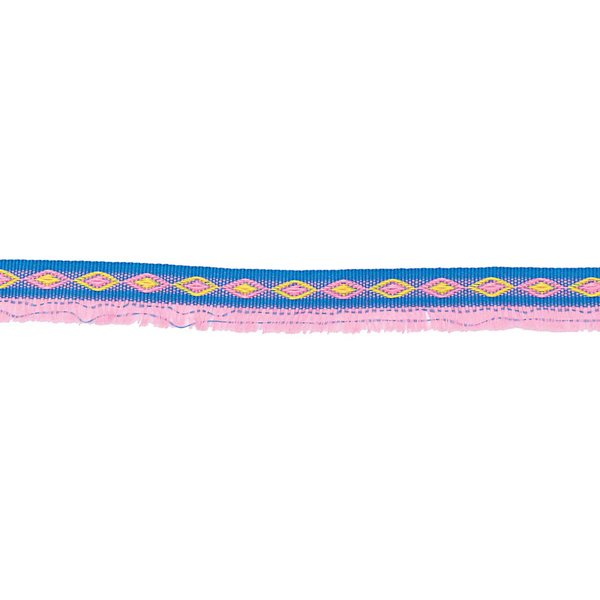 Made by Me Ribbon Fransen blau-neonpink 2m