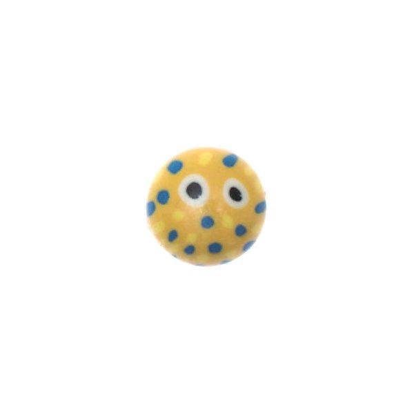 Jewellery Made by Me Glaskugel Punkte gelb-blau 12x8mm 10 Stück