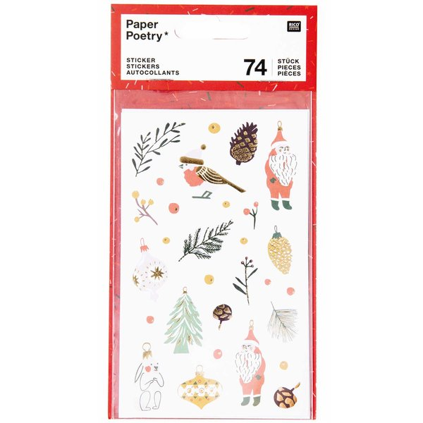 Paper Poetry Sticker Nostalgic Christmas classic 74 Stück