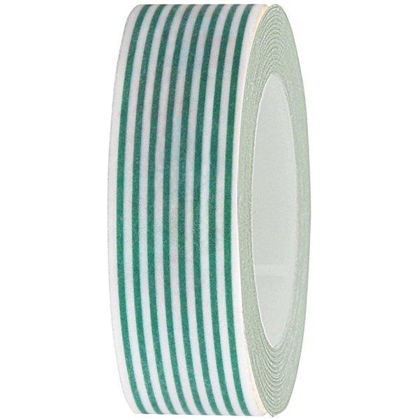 Rico Design Tape weiß-neongrün gestreift 15mm 10m