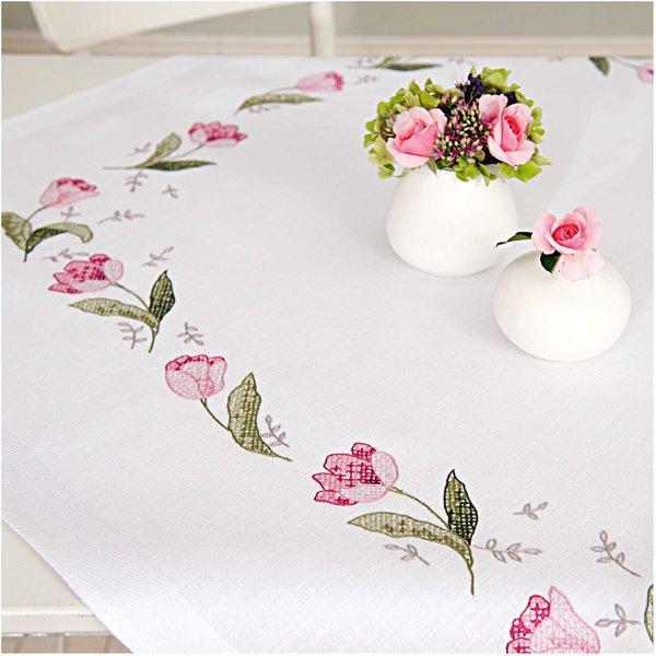 Rico Design Stickpackung Decke Tulpen 90x90cm