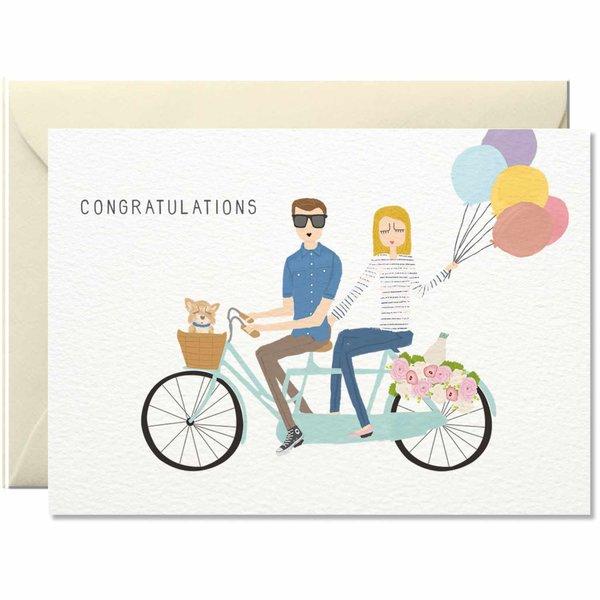 Nelly Castro Grußkarte Congratulations Tandem Bike 10,5x14,8cm