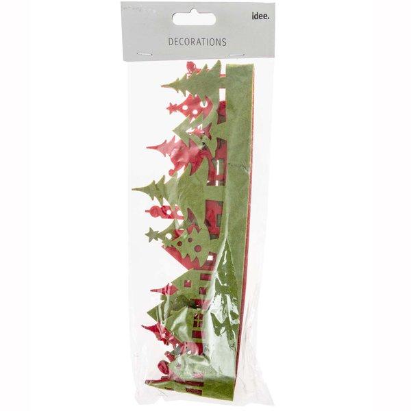 Filzband Weihnachtslandschaft grün-rot 1m