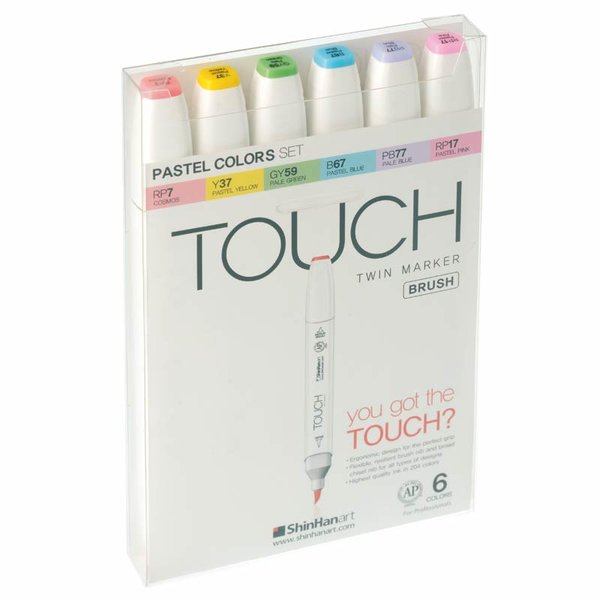 TOUCH Twin Brush Marker Pastel Colors 6er Set