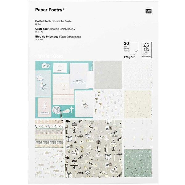 Paper Poetry Bastelblock Kommunion und Konfirmation 20 Blatt