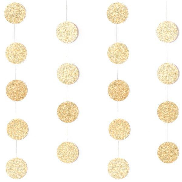 YEY! Let's Party Genähte Girlande Kreise 3,8cm Glitter-gold 2m