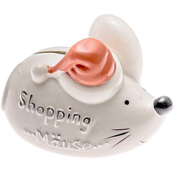 Sparmaus Shopping Mäuse weiß-lachs 11x8cm