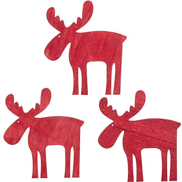 Streu Elch rot 10cm Holz 3 Stück