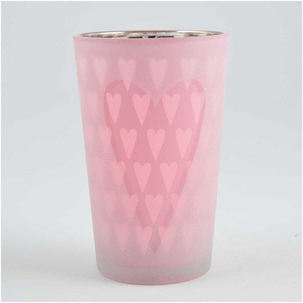 Teelichtglas Herzen pastellrosa 6,8x10,5cm