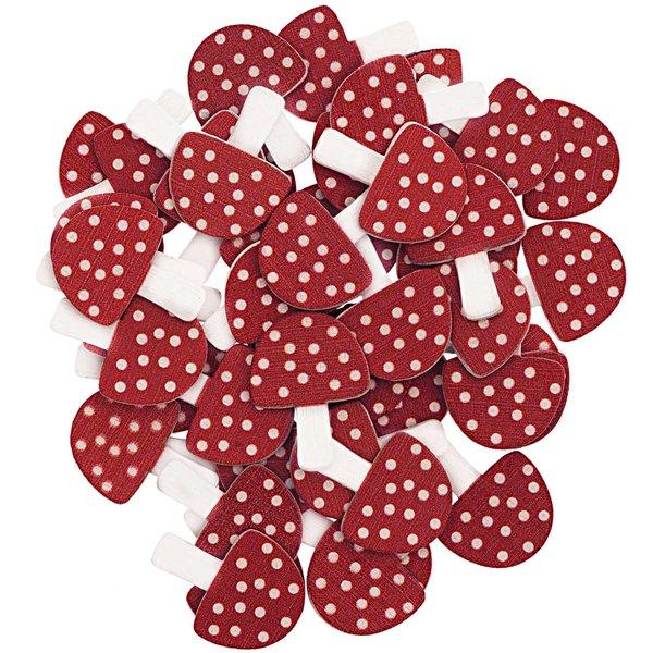 Ohhh! Lovely! Holzstreu Pilz rot-weiß 48 Stück