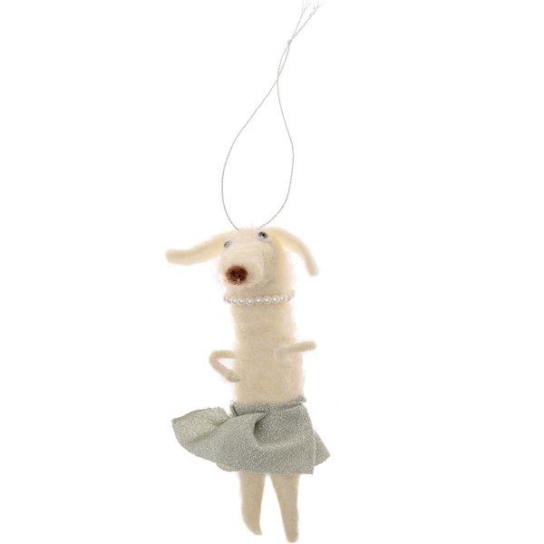 Filz-Dackel mit Tütü zum Hängen weiß-mint 15cm