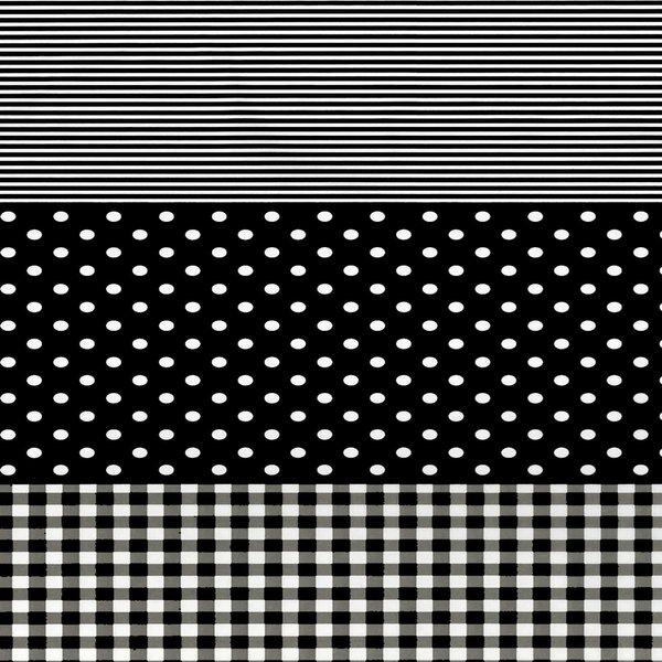 décopatch Papier Punkte-Karo-Streifen schwarz 3 Bogen
