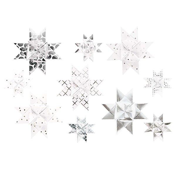 Paper Poetry Fröbelstreifen Graphic weiß-silber 40 Stück
