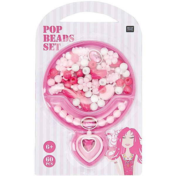 Rico Design Pop Beads Set rosa klein