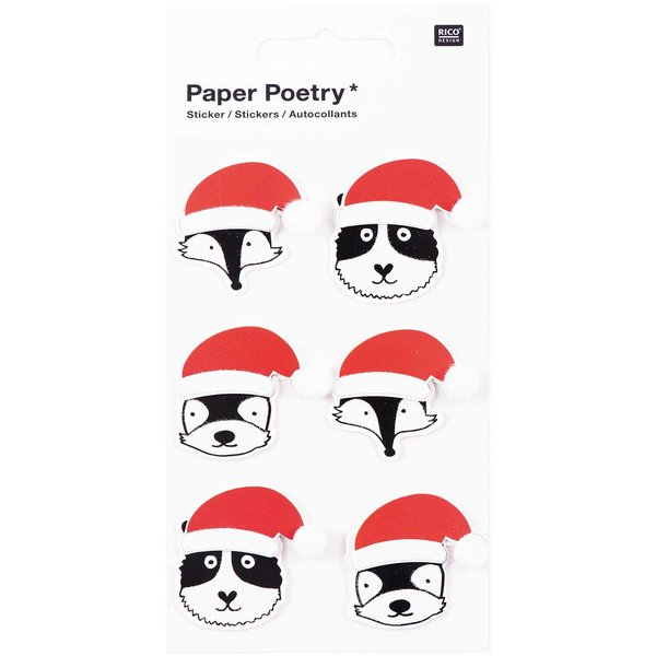 Paper Poetry 3D Sticker Tiere mit Nikolausmütze
