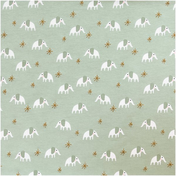 Rico Design Jerseystoff Baby Collection Elefant mint-gold 70x100cm