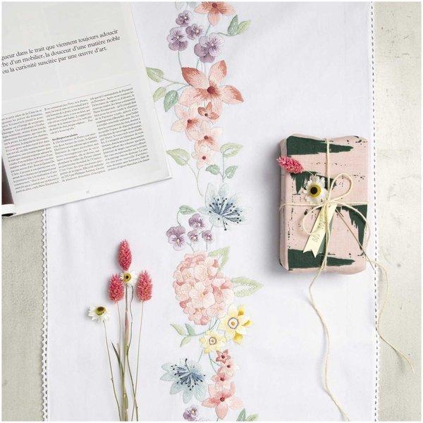 Rico Design Stickpackung Läufer Hortensienkranz 45x150cm