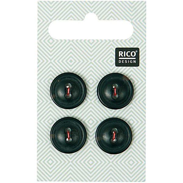 Rico Design Knopf schwarz 1,5cm 4 Stück