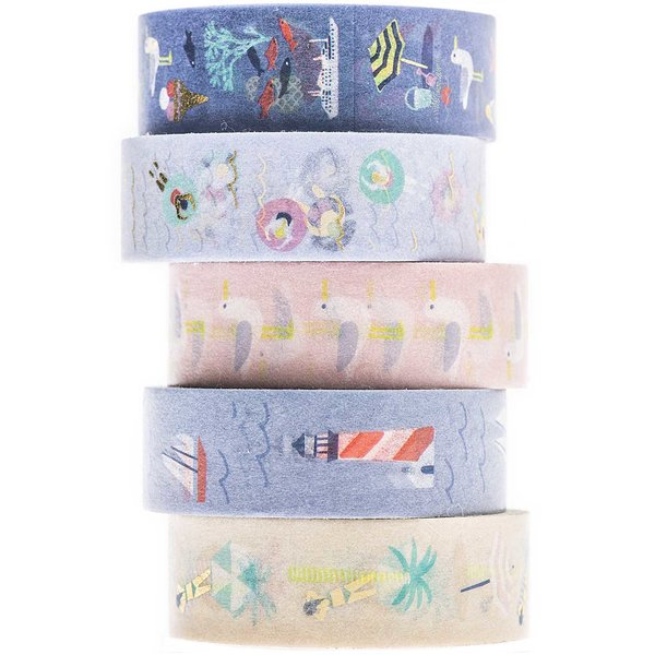 Paper Poetry Tape Set Maritim 1,5cm 10 m 5 Stück