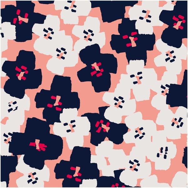 Rico Design Druckstoff Okina Hana Blumen pink-schwarz 50x140cm