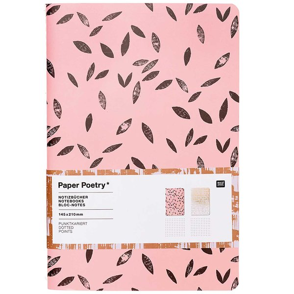 Paper Poetry Notizbücher koralle-grau A5 punktkariert 40 Seiten 2 Stück