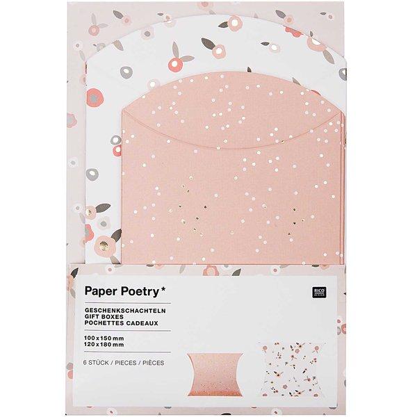 Paper Poetry Geschenkschachteln Blumen puder-gold 6 Stück