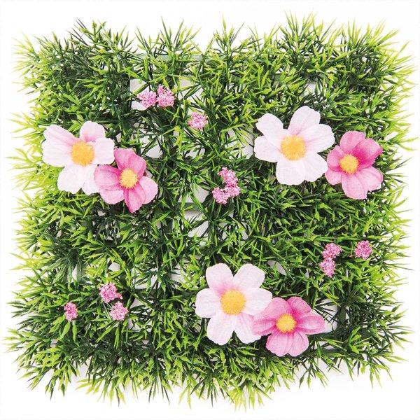 Grasmatte Blümchen pink 15x15cm
