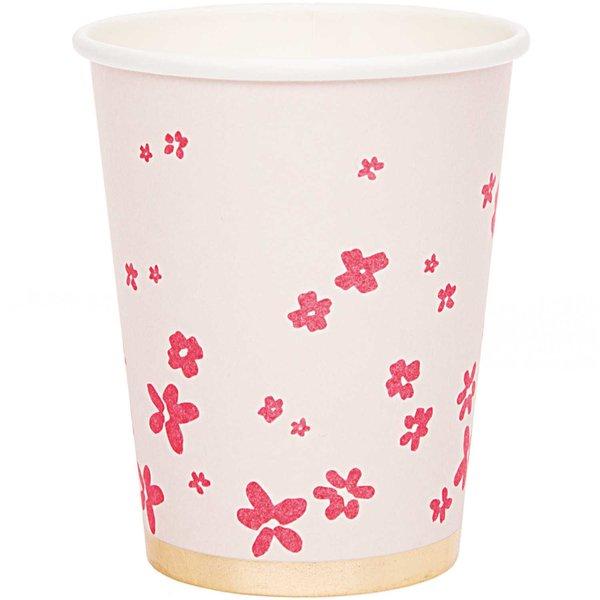 YEY! Let's Party Pappbecher Blüten rosa 200ml 12 Stück