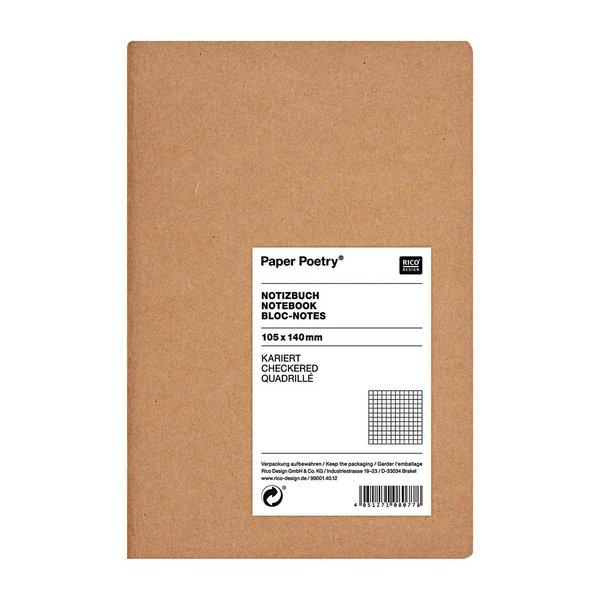 Paper Poetry Notizbuch weiß A6 Kraftpapier kariert