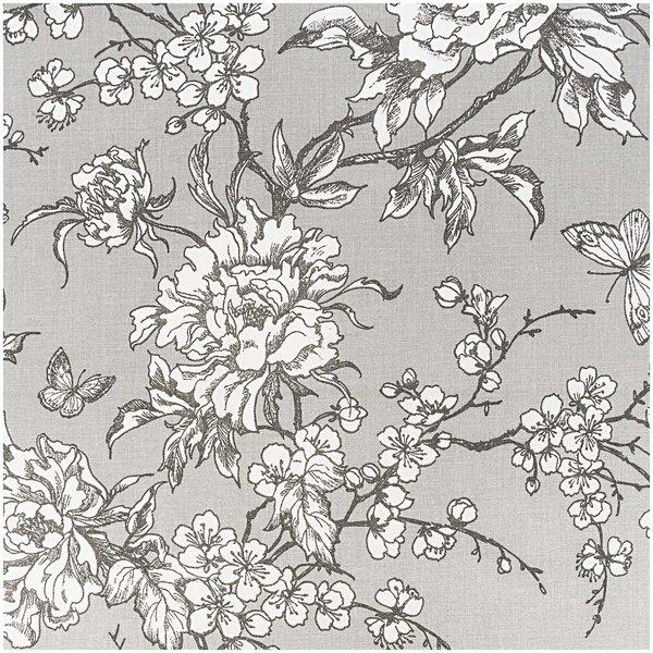 Rico Design Stoff Kirschblüte grau-weiß 50x140cm