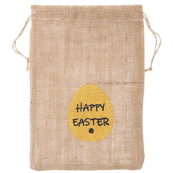 Leinenbeutel Happy Easter natur 28x20cm