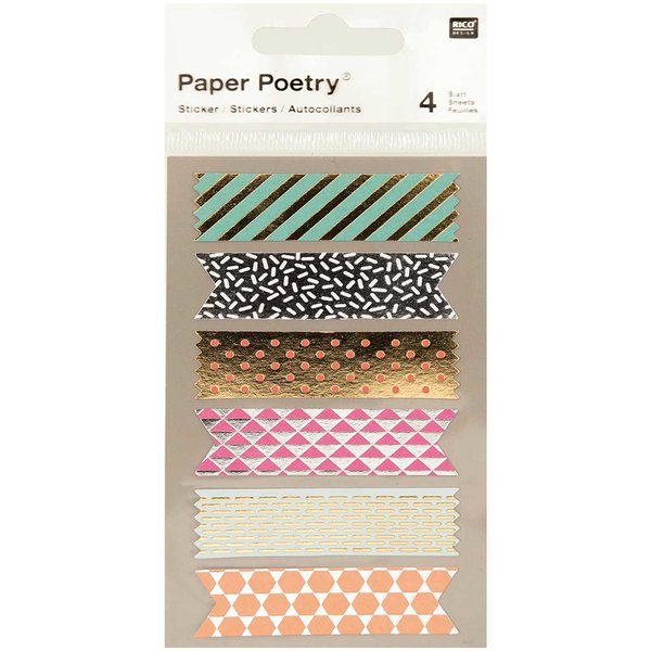 Paper Poetry Sticker Tapes metallic 4 Bogen