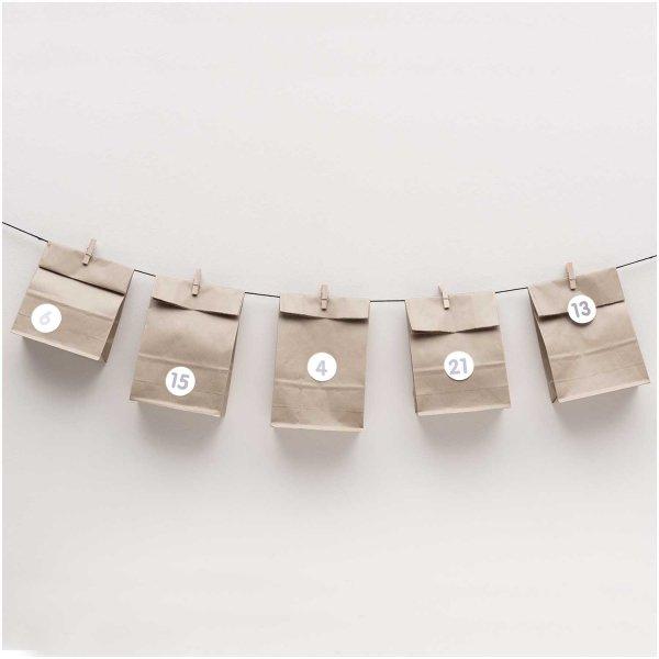 Paper Poetry Adventskalenderset grau 24 Tüten inkl. Zubehör