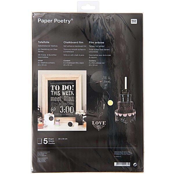 Paper Poetry Tafelfolie schwarz 23x33cm 5 Bogen