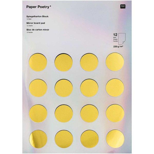 Paper Poetry Spiegelkartonblock gold-silber 21x29,5cm 230g/m² 12 Blatt