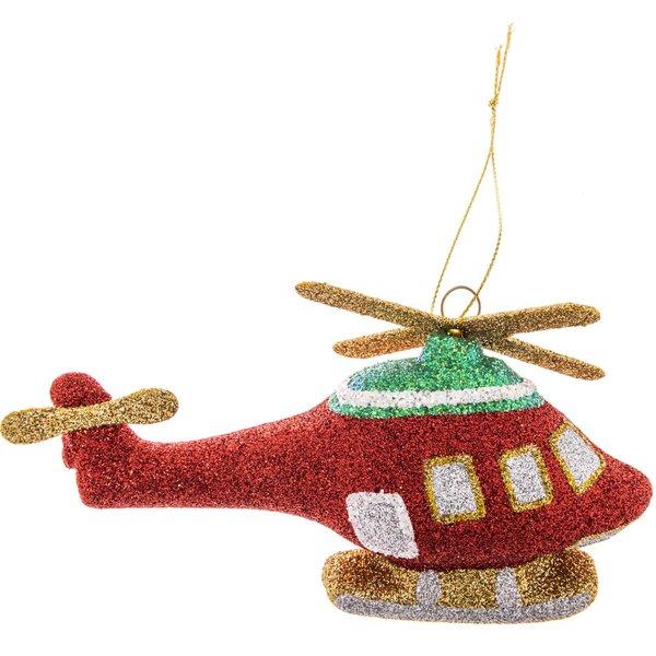 Baumschmuck Hubschrauber rot-glitter 13,5cm