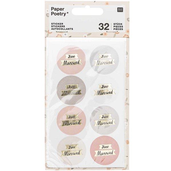 Paper Poetry Sticker Just Married puder-grau 4 Blatt